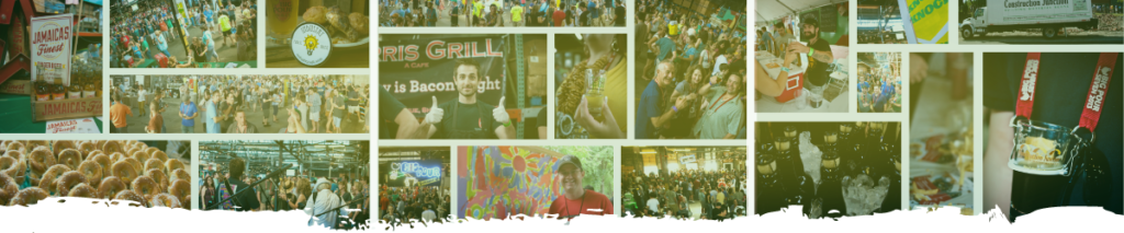Banner image of a photo collage featuring the crowd and various vendors at previous Steel City Big Pour events.